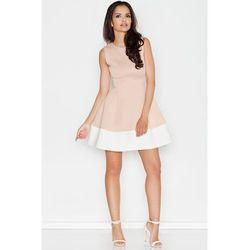 Dwukolorowa ekskluzywna sukienka beżowa
