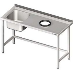 Stół ze zlewem jednokomorowym z otworem na odpadki STALGAST 1300x600x850 lewy