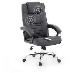 Krzesło biurowe obrotowe czarne - fotel tapicerowany - masaż - COMFORT