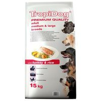 TropiDog Premium Adult Medium &Large Breeds Turkey&Rice 15kg