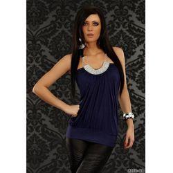 Elegancki, seksowny top na ramiączkach w kolorze granatowym - Dea Divina - 8230-6