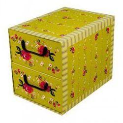 Pudełko kartonowe 2 szuflady pionowe PROWANSALSKIE-ZIELONE
