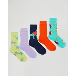 ASOS Socks With Dinosaurs In Jumpers Design 5 Pack - Multi