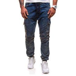 Granatowe spodnie joggery bojówki męskie Denley 4257 - GRANATOWY
