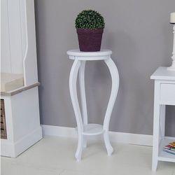 Konsola z serii Meridian, stojak na kwiaty, gięte nogi, matowa biel.