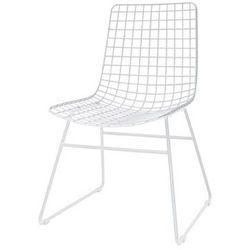 HK Living Krzesło metalowe WIRE białe FUR0019