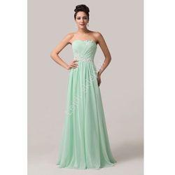 Miętowa długa suknia wieczorowa   suknia dla druhny   miętowe sukienki na wesele