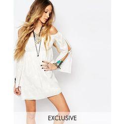 Reclaimed Vintage Off Shoulder Lace Dress - White