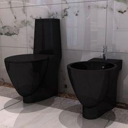 vidaXL Czarna ceramiczna muszla klozetowa oraz bidet Darmowa wysyłka i zwroty
