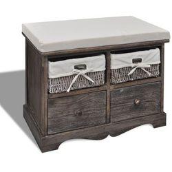 vidaXL Ławka drewniana z 4 szufladami oraz poduszką (brązowa) Darmowa wysyłka i zwroty