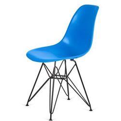Krzesło DSR BLACK - Niebieski, nogi czarne metalowe.
