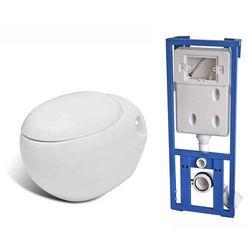 vidaXL Miska WC toaleta owalna, podwieszana, nietypowy kształt, biała Darmowa wysyłka i zwroty