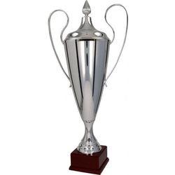 Puchar srebrny na drewnianym postumencie, klasyczny