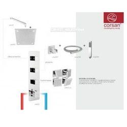 CORSAN Zestaw podtynkowy z termostatem, chrom CM-03T_40LEDR+Hx4