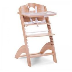 Regulowane krzesło do karmienia z tacką Lambda 2 naturalne drewno róż