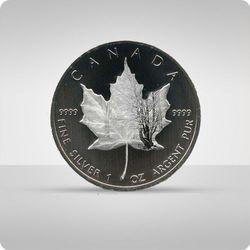 "Kanadyjski Liść Klonowy 1 uncja srebra - kolor ""zima"""
