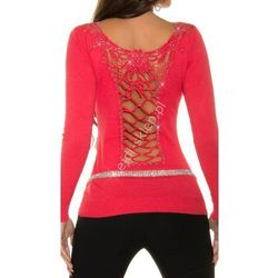 Sweter z gipiurową koronka oraz cyrkoniami, koral | swetry damskie