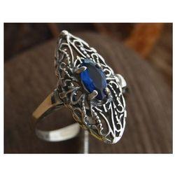 IZMIR - srebrny pierścionek z szafirem