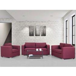 Zestaw wypoczynkowy burgundowy- Sofa - trzyosobowa - dwuosobowa - fotel - HELSINKI