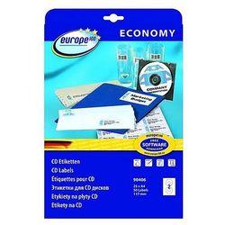 Etykiety samoprzylepne na CD/DVD Economy białe Avery Zweckform 90406, 25ark.