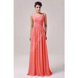 Długa koralowa suknia na wesele | koralowe suknie wieczorowe | sukienki dla druhen , świadkowych