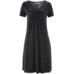 Sukienka, krótki rękaw bonprix czarny w groszki