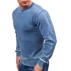 Niebieska bluza męska bez kaptura Denley 2566 - NIEBIESKI