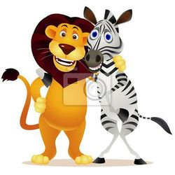 Fototapeta zebra i lew