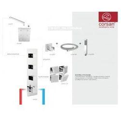 CORSAN Zestaw podtynkowy z termostatem, chrom CM-03T_30LEDR+Hx4
