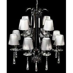 LAMPA wisząca VENISIA LDP 8035 - 12 Lumina Deco kryształowa OPRAWA metalowy ŻYRANDOL crystal chrom srebrny