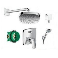 Zestaw prysznicowy Hansgrohe Logis: deszczownica z ramieniem, zestaw prysznicowy, bateria wannowo-prysznicowa z elementem podtynkowym, przyłącze kątowe 265244+27558+71405