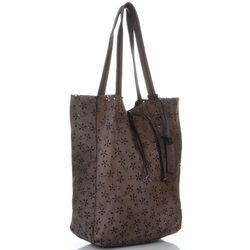 14c2b2ce62d84 Włoskie Torebki Skórzane Ażurowany Shopper w stylu Vintage firmy Vittoria  Gotti wykonany z wysokiej jakości skóry