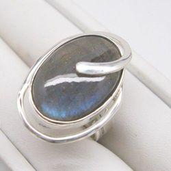 Labradoryt w srebrze - pierścionek