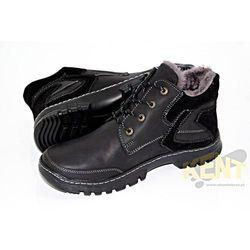 KENT 206 CZARNE - Skórzane buty zimowe, trzewiki