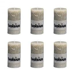 Bolsius Świece rustykalne x6 130x68 mm Kamienny szary Zapisz się do naszego Newslettera i odbierz voucher 20 PLN na zakupy w VidaXL!
