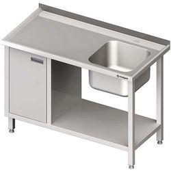 Stół ze zlewem jednokomorowym z szafką i półką STALGAST 1300x600x850 prawy