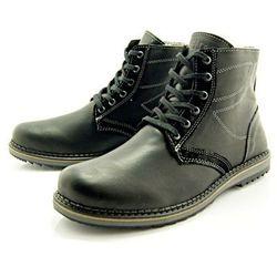 KENT 236 CZARNY - Zimowe buty męskie z wełnianym ociepleniem