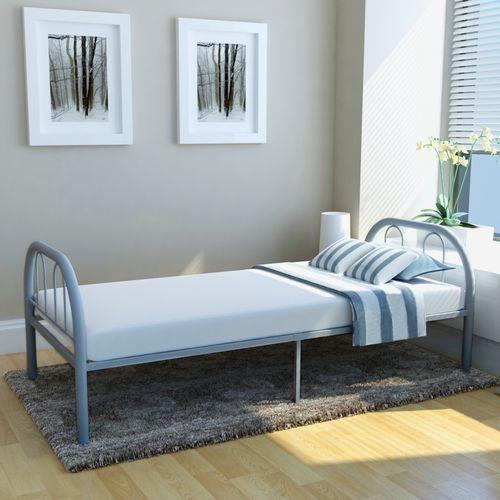 Vidaxl łóżko Jednoosobowe Metalowe Szare 75x200 Cm