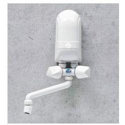 DAFI Nadumywalkowy elektryczny przepływowy podgrzewacz wody IPX5 4,5kW z białą baterią