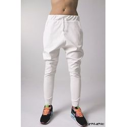 Spodnie skórzane baggy złamana biel