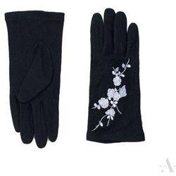 d38865e9a71d8 Szykowne czarne rękawiczki damskie z haftowanymi srebrnymi kwiatkami -  czarny