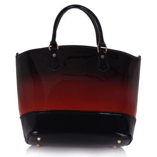 aa2aa3d3cebdf Bordowo-czarna lakierowana torebka damska z cieniowanym kolorem - czarny