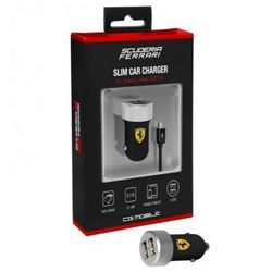 Ferrari Scuderia - Ładowarka samochodowa 2.1A 2xUSB + kabel micro USB (czarny) Odbiór osobisty w ponad 40 miastach lub kurier 24h