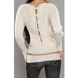 Sweter nietoperz z kokardkami na plecach, kremowy| kremowe swetry damskie