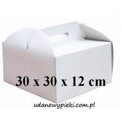 KARTON PUDEŁKO NA TORT BIAŁY Z UCHWYTEM 30x30x12cm