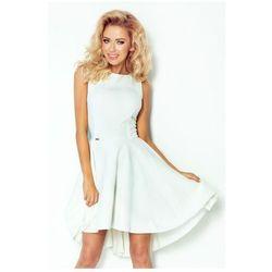 66-7 Gruba Lacosta - Ekskluzywna sukienka z dłuższym tyłem - ecru