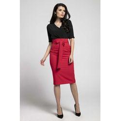 Czerwona elegancka spódnica satynobawełniana z ozdobnymi
