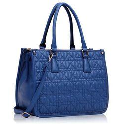 Niebieska pikowana torebka damska pięciokomorowa - niebieski