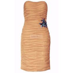 Klasyczna drapowana sukienka z szyfonu Arena Stylu, brzoskwinia 924 -4