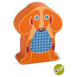 OOPS Drewniany klocek z dźwiękiem, grzechotka - Pies